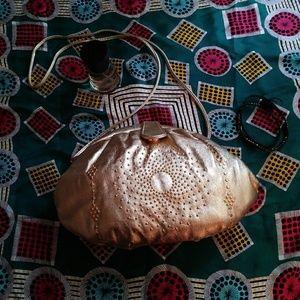 Genuine Leather Frame Bag Gold Studded Clutch VTG